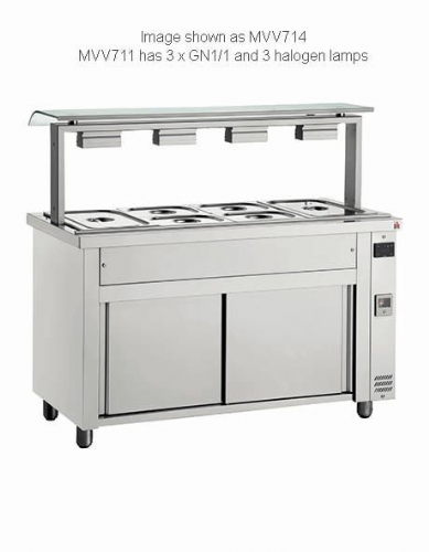 Inomak Gastronorm Bain Marie with Sneeze Guard MVV711